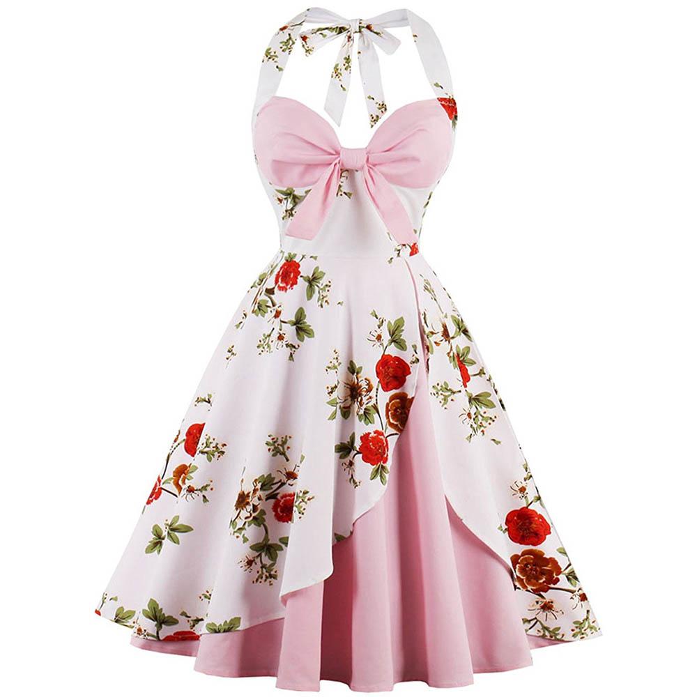 Sexy Sweetie Rose Printed Vintage Swing Dress Ladies 1950's Retro Cocktail Party Audrey Hepburn Deep V Halter Dress Plus Size