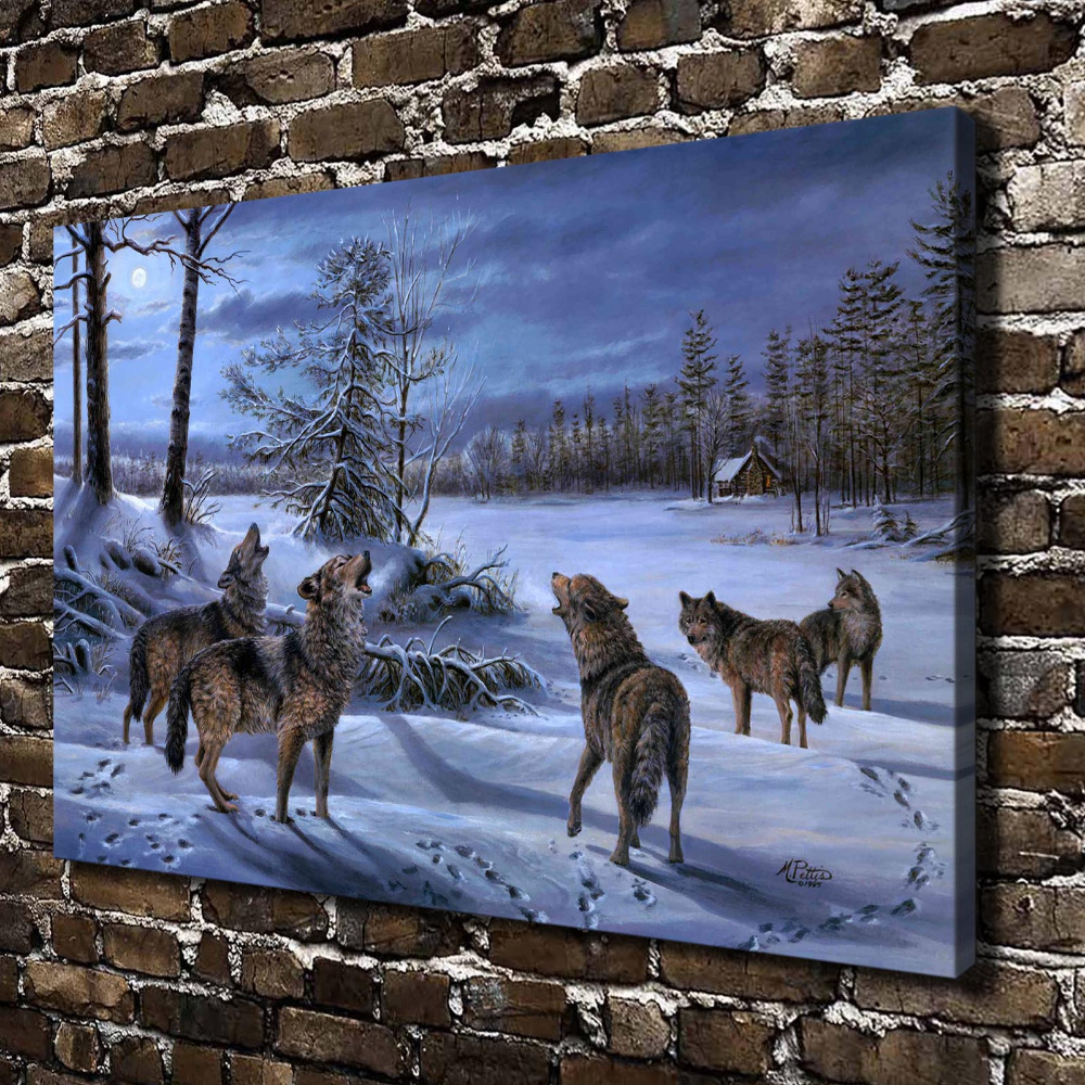 C_X66 Snow Forest Natural Scenery Animals Wolf. HD Canvas Print Home decoration Living Room bedroom Wall pictures Art painting