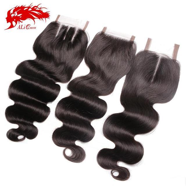 Brazilian Body Wave Lace Closure Free Part, Middle Part Or 3 Ways Part Ali Queen Hair Virgin Brazilian Body Wave Lace Closure