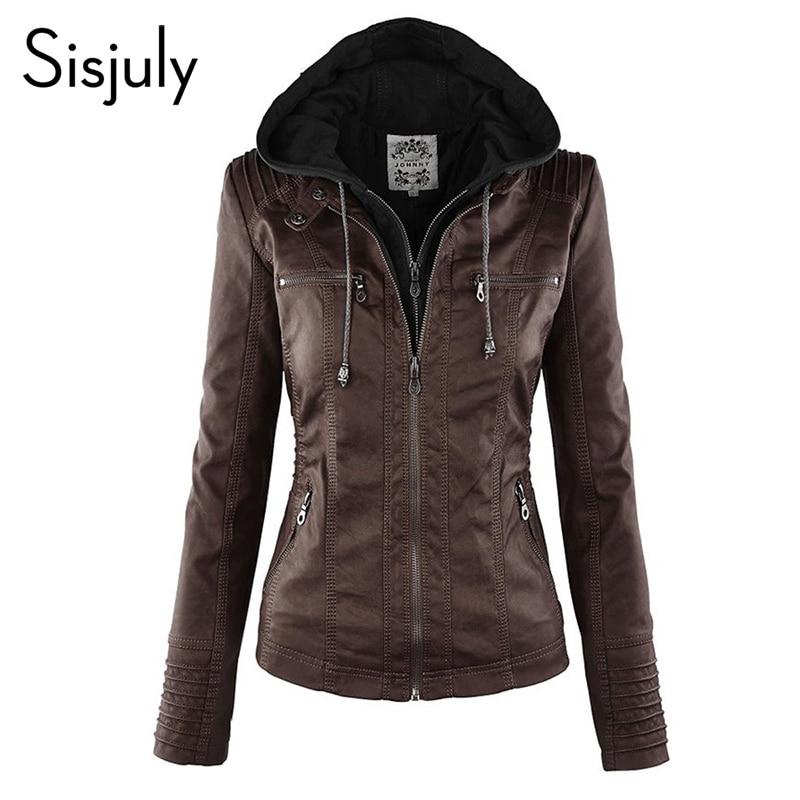 Sisjuly Hooded Women Jacket Black Winter Motor Coat Slim Thick Zipper Casual Parka Overcoat Fashion Girls Work PU Jacket Coats