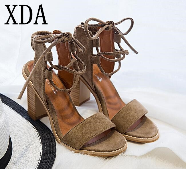 XDA 2018 NEW fashion Sexy Women Pumps Open Toe Lace up Heels Sandals Woman sandals Thick with Women Shoes women High heels xiaying smile woman pumps shoes women spring autumn wedges heels british style classics round toe lace up thick sole women shoes
