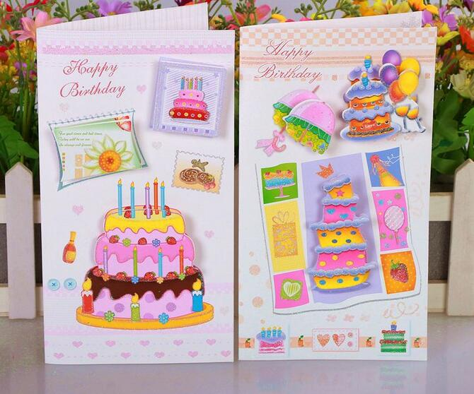 Stereo Cake Handmade Birthday Greeting Card With Envelope Happy Gift To Friend Set Free Shipping In Cards Invitations From Home Garden On