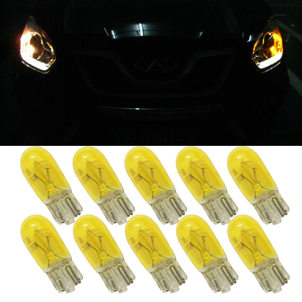 10Pcs Car Light Source T10 Bulb W5W 194/501 12V 3W Wedges Yellow Car Light Source Halogen Bulb Signal Interior Car light Lamp 5 5 car obd2 ii