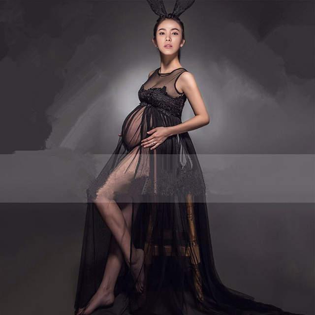 ef123a72c placeholder Vestido Negro de Encaje de Maternidad de maternidad Vestido de Embarazada  Apoyos de La Fotografía Embarazo