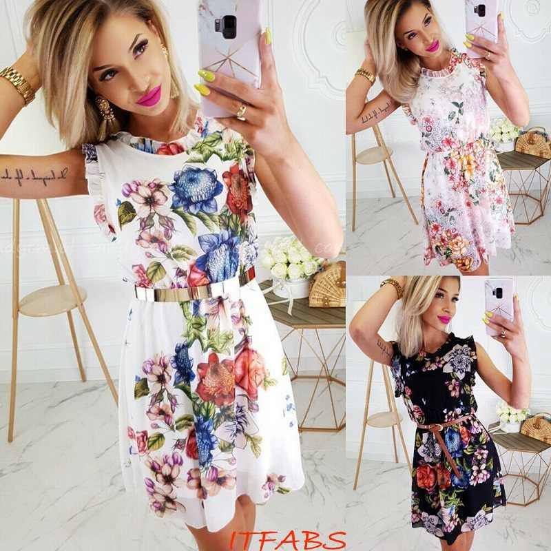 summer 2019 Women Boho Floral Print Dress vestidos robe femme Bandage elegant Party Dress ropa mujer