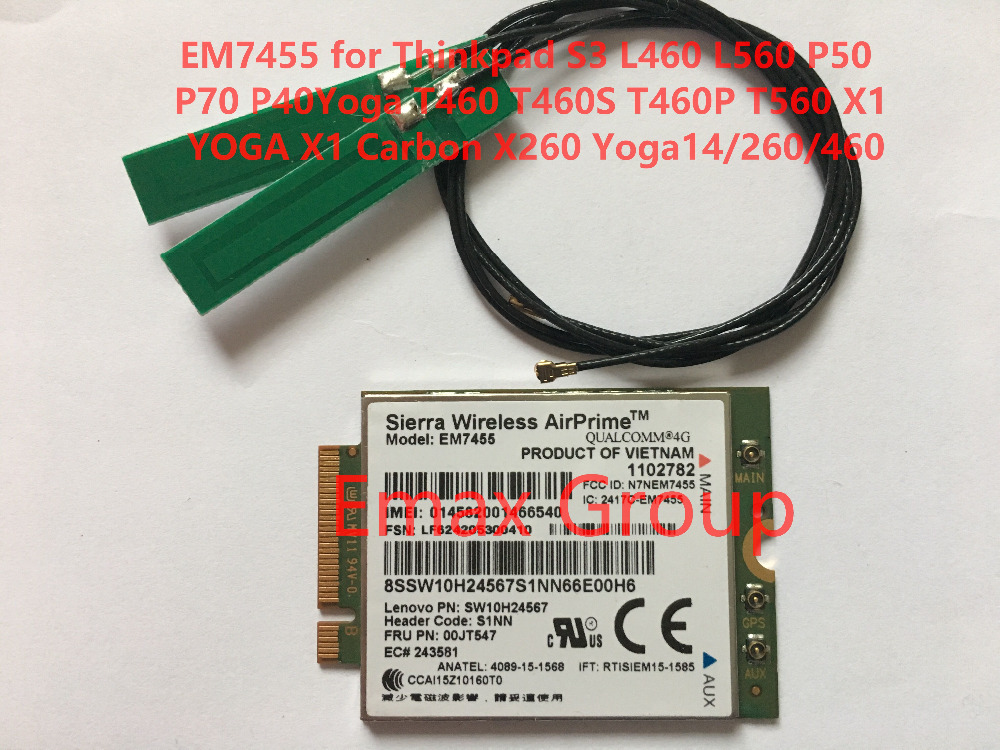 EM7455 FRU 00JT547 Antenna for Thinkpad L460 L560 P50 P70 T460 T460S T460P T560 X1 YOGA