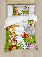 Duvet Cover Set, Cartoon Style Zoo Animals Safari Jungle Mascots Collection Tropical Forest Wildlife, 4 Piece Bedding Set