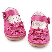 High Quality Beautiful Crystal Flower PU Leather Rubebr Sole Baby Moccasins Shallow Baby Girl Princess Shoes