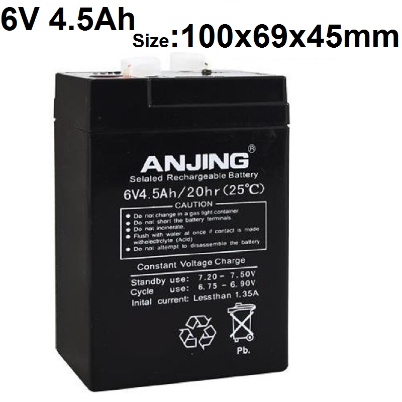 6V 4.5AH Storage Batteries 4AH 5AH Lead Acid Rechargeable batteries for Children Electric Car Electronic Said Emergency Lights