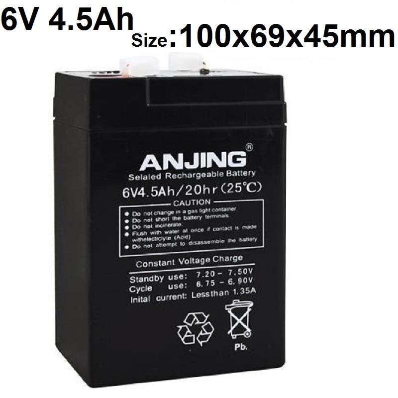 6V 4.5AH Storage Batteries 4AH 5AH Lead Acid Rechargeable batteries for Children Electric Car Electronic Said Emergency Lights батарея yuasa np4 6 6v 4ah