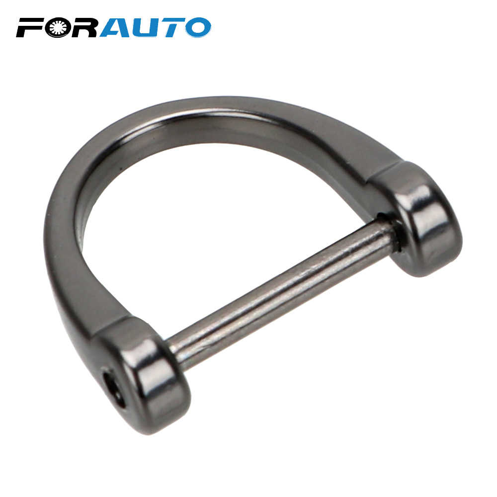 FORAUTO D Shape Horseshoe Car Keychain Classic Metal Key Rings Key Holder Key Chain Thick Rod Car-styling Interior Accessories