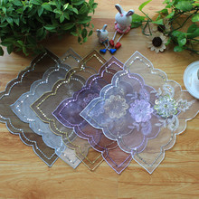 5 Pieces Sequins Lace Cloth Flower Embroidery Table Mat, Pads, Decorative for vases Delicate covers home wedding decoration