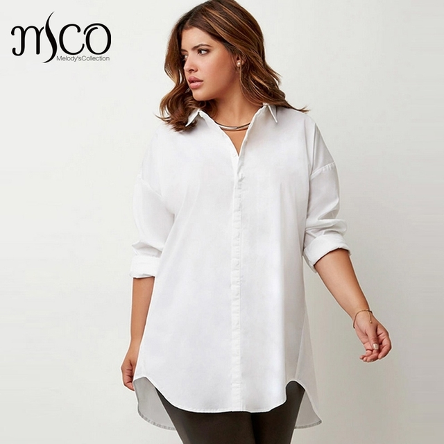 33aeac67284 Simple Plus Size Women White Shirt Franch Letter Print Tumblr Blouse  Oversize Long Sleeves Casual Top 5XL 6XL Office Ladies Top