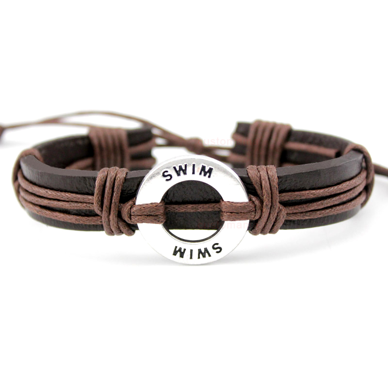 Swim Lacrosse Soccer Football Volleyball Hockey Golf Calisthenics Basketball Charm Leather Bracelets Women Men Unisex Jewelry