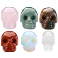 1 pc Natural Rose Quartz Skull Stone Carved Chakra Figurine Red Jasper Opalite Rock Crystal Quartz Healing Feng Shui Reiki 2""
