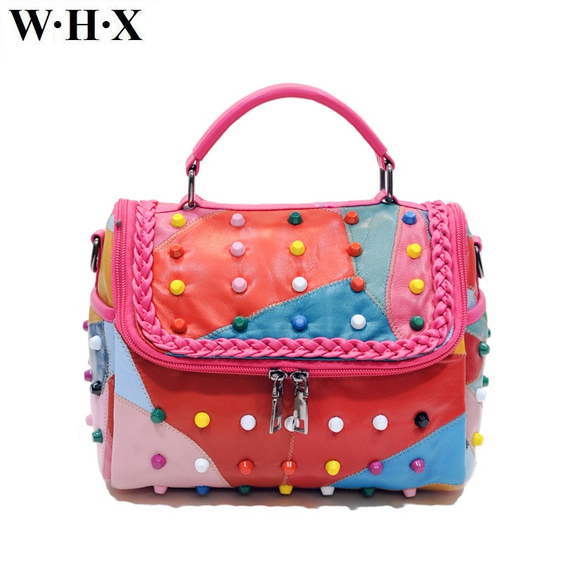 WHX Genuine Leather Women Handbags Colours Latest Design Fashion Casual Women Tote CrossBody Bag Female Shoulder Messenger Bag whx new style casual fashion women tote bag crossbody bag female shoulder messenger bag leather cartoon cat bear sequin handbag