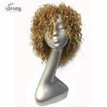 Strongbeauty 여성용 가발 짧은 곱슬 머리 합성 전체 가발 옐로우 컬러 몰딩 제작 남자 가발