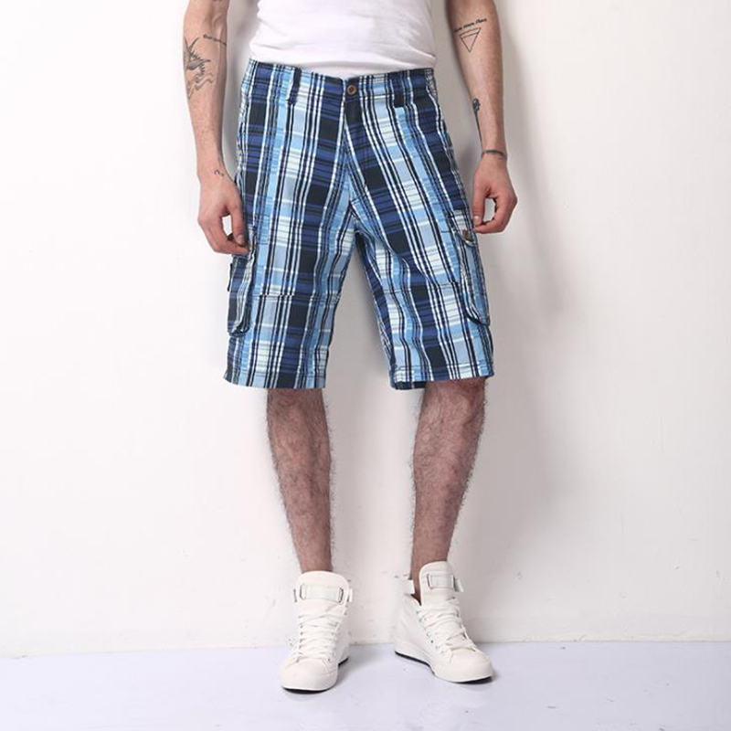 2018 Summer Cotton Plaid Casual Shorts Men High Quality Cargo Men Shorts Beach Male Shorts 100% Cotton Short Plus size 38