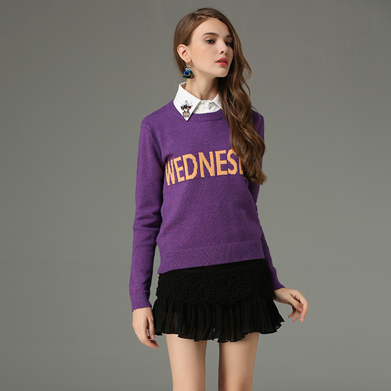 2017 New Autumn Women Sweater Hot Sale 7 Colours Day Of The Week Designer Runway Sweater Casual Knitted Pullover Sweater Kazak