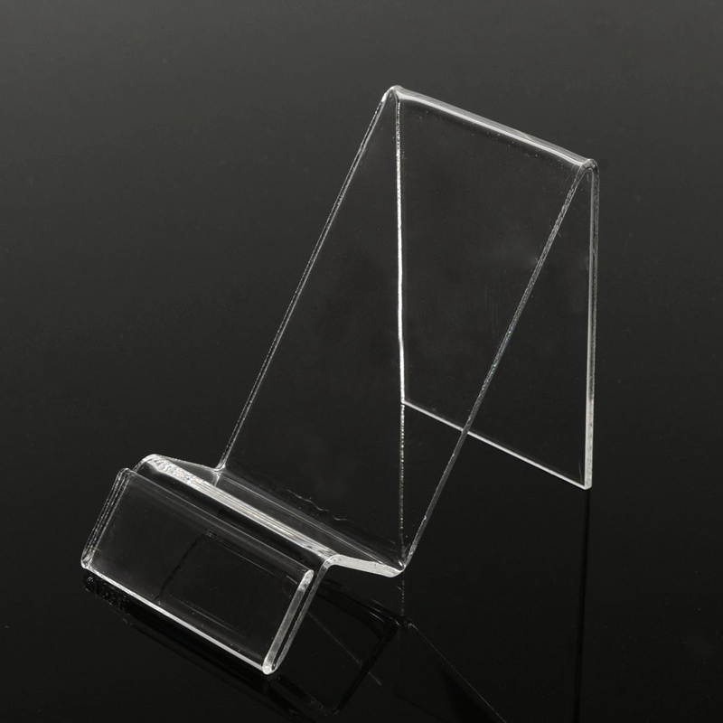 Simple Universal Transparent Plastic Display Holder Stand Mobile Phone Show Rack Clear Bracket Pallet For IPhone For Samsung
