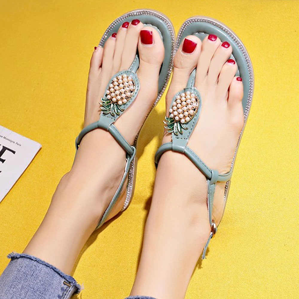 Cute Flat Pineapple Sandals Women Casual Fruit Sandals With String Bead 2019 New Buckle Strap Peep Toe Flip Flops Sandals Female
