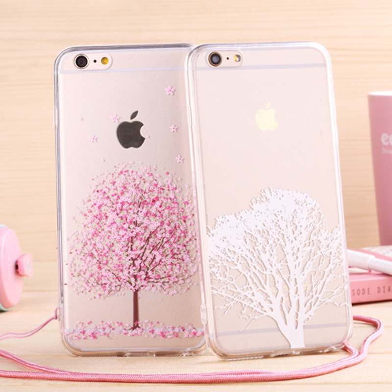 new arrival dbbda 82eb7 US $3.69 |Newest fashion Japan sweet cherry blossom Phone Case soft TPU for  Apple iphone 6 Case 4.7'' Transparent back cover with lanyard on ...