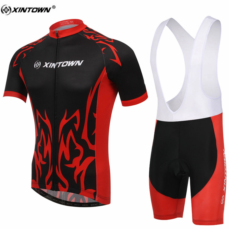 XINTOWN Black With Red Short Sleeve Cycling Jersey Set Sweat MTB Bike Clothing Bicycle Jerseys For Men Pro Road Clothes
