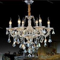 Luxo clássico 6 Braços do Candelabro de Cristal Luminária Para Sala de estar Frete Grátis