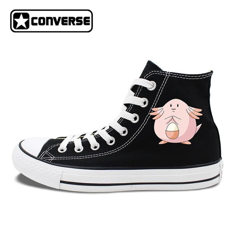 Design Pokemon Converse Chuck Taylor Shoes Anime Chansey High Top Canvas Sneakers Brand Skateboarding Shoes for Men Women