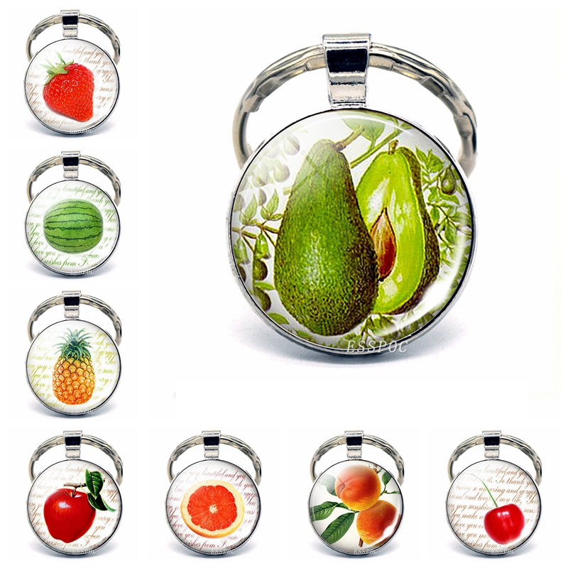 Cute Fruit Keychain Avocado Picture Glass Cabochon Keychain, Strawberry, Watermelon, Apple, Peach, Pineapple Jewelry Lovers Gift