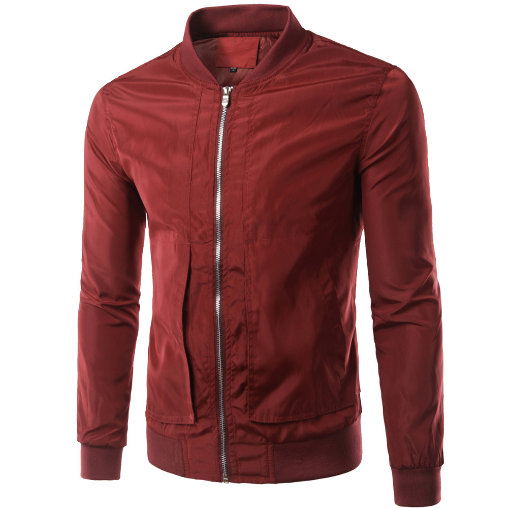 New Wine Red Jacket Men Bomber Veste Homme2016 Spring Autumn Fashion Mens Slim Fit Zipper ...