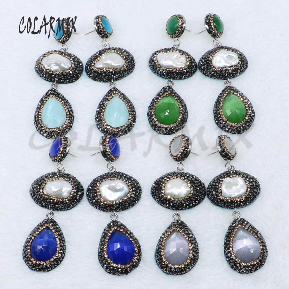 5 Pairs double stone earrings cateye stone earrings druzy jewelry earrings mix colors wholesale jewelry 4885