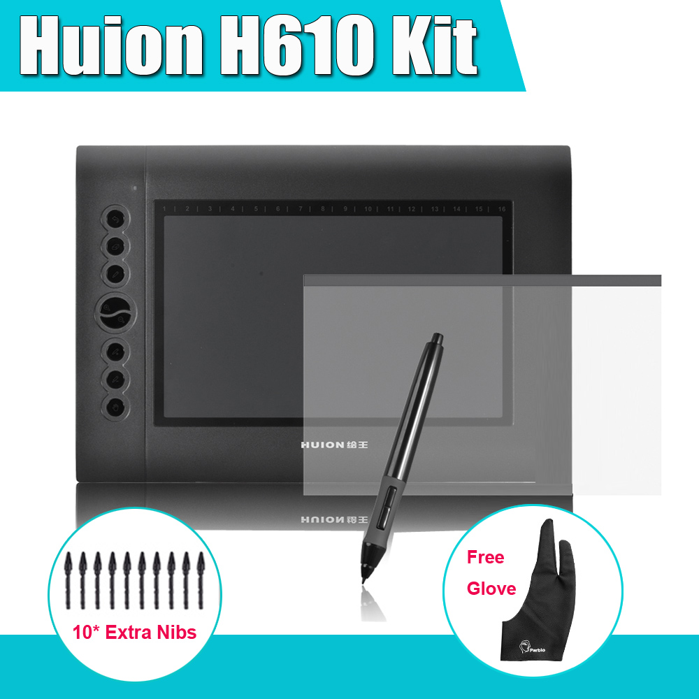 Newest Huion H610 Graphics Drawing Digital Tablet Kit + Parblo Two-Finger Glove + 10 Extra Pen Nibs + Protective Film huion h610 8 expresskey usb graphic pen tablet black