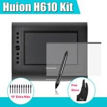 Neueste Huion H610 Grafiken Zeichnung Digitale Tablet Kit + Parblo Zwei-Finger Handschuh + 10 Extra Stiftspitzen + Schutzfolie