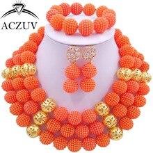 Заявление Комплект Ювелирных Изделий Orange Пластиковые Перл Бисера Нигерии Свадьба Африканские Бусы LV014