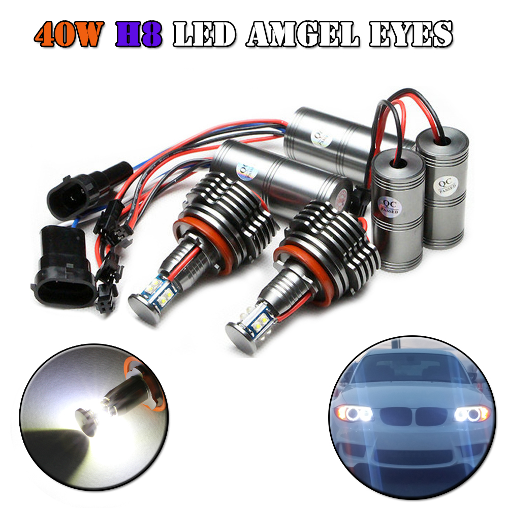 H8 Led 80W LED Angel Eyes Lamp for BMW E87 E82 E92 E93 E70 E71 E90 E91 E60 E61 E63 E64 LED Marker car angel eyes light bulb h8 20w cree angel eyes led marker light drl for bmw e82 e87 e90 e91 e92 m3 e93 e60 e61 e63 e64 e70 x5 e71 x6 e89 z4 king deluxe