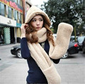 Women grils Winter Hat Soft Fleece Hooded Cap Long Scarf and Gloves Warm with Pocket