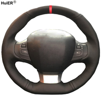HuiER Hand Sew Car Steering Wheel Cover Red Marker For Peugeot 308 2016 2017 Breathable Car Styling Automobile Car Protector