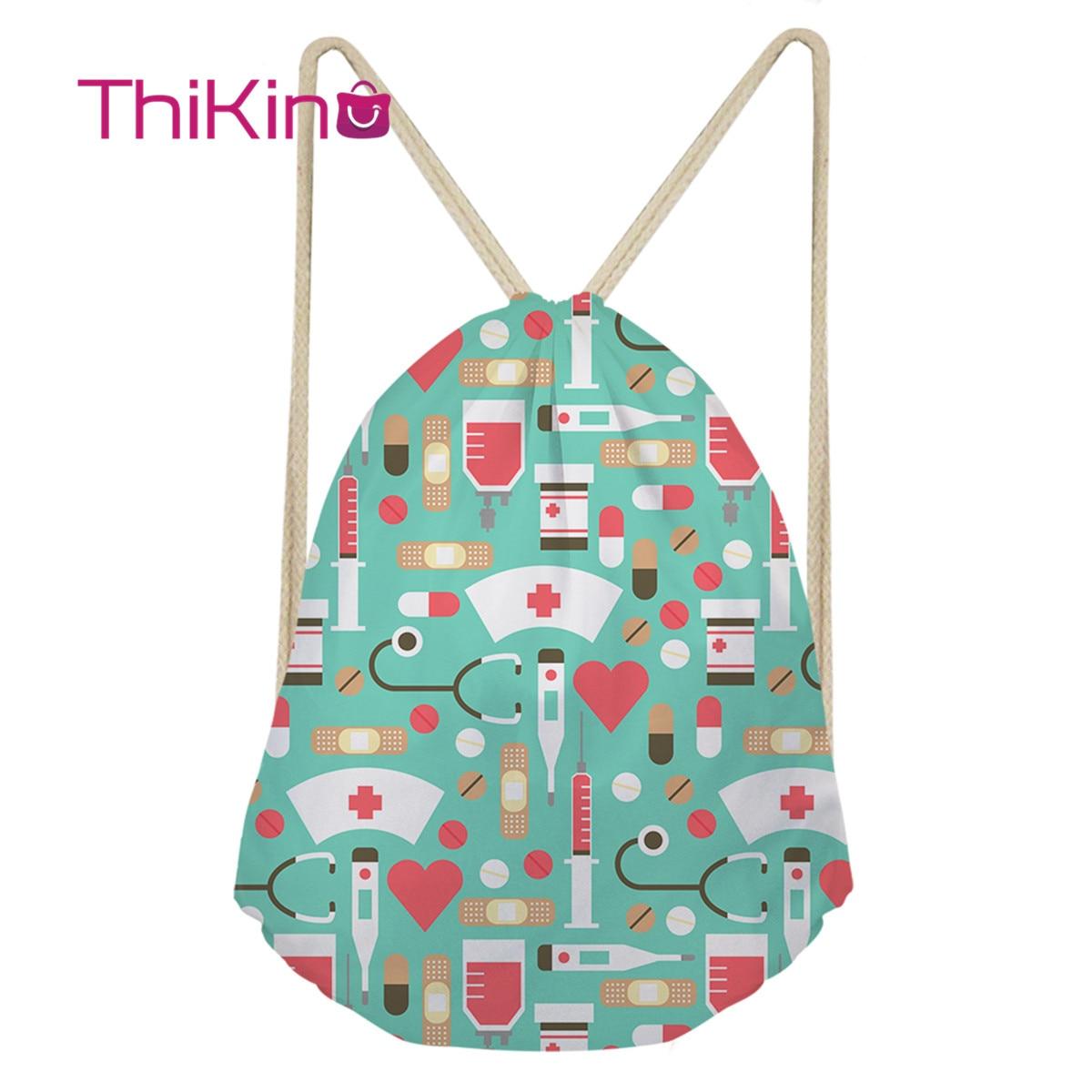 Thikin Nursing Needle Casual Sack Drawstring Bag For Women Travel Backpack Toddler Softback Lady Beach Mochila DrawString Bag