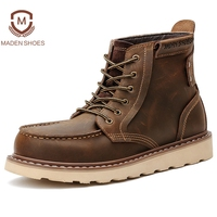 Maden Brand 2018 Spring Winter Vintage Men Work Boots Classic Handmade Martin Boots High Quality Tooling