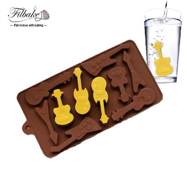 Filbake силиконовые формы 10 даже гитара формы 3D Шоколад формы для льда Mold DIY формы для выпечки пудинг плесень торт украшения