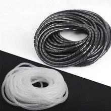 Cabo dobadoura preto pés espiral fio organizador envoltório tubo flexível gerenciar cabo para computador computador casa escondendo cabo 8-30mm