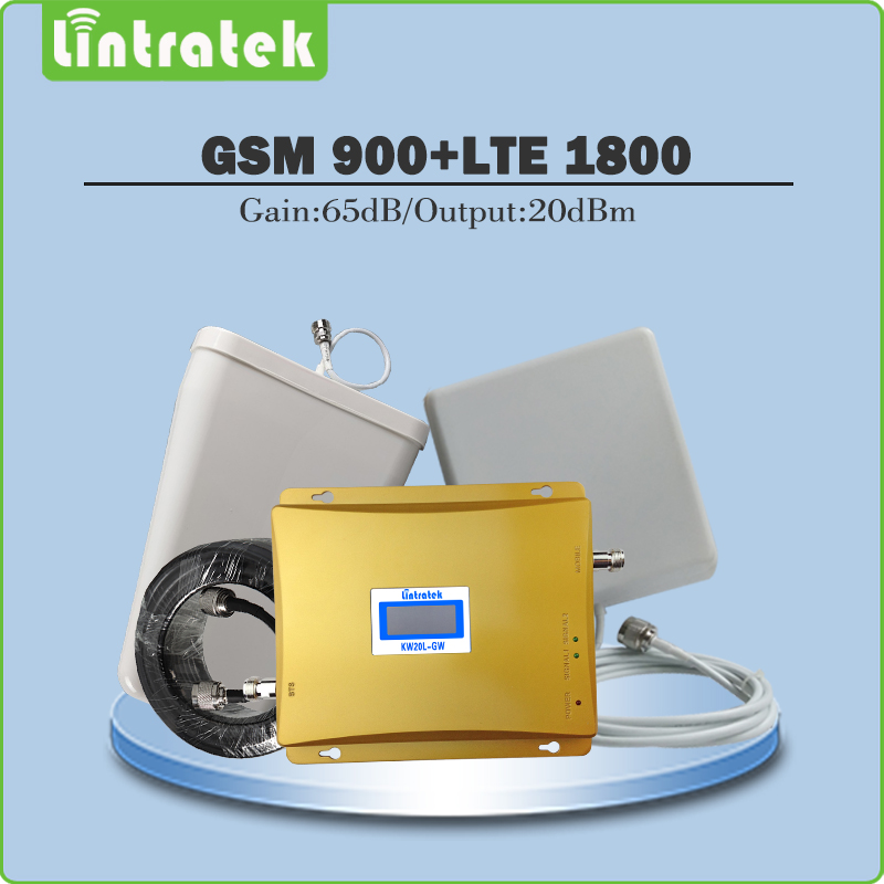 Mobile Phone Signal Booster GSM 900MHz LTE 1800MHz Dual Band Amplifier GSM DCS Signal Repeater Full