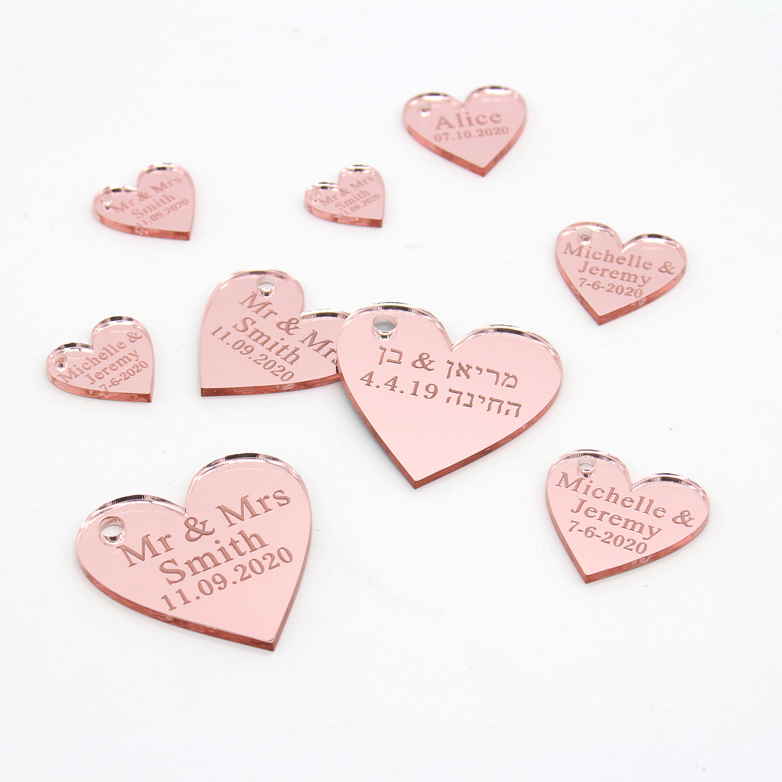 100 Personalized Engraved Love Hearts Rose Gold / Gold / Silver Mirror / Wood Tags Wedding Party Table Centerpieces Decor Favors