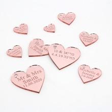100 personalizado grabado corazones de amor oro rosa/oro/plata espejo/madera etiquetas boda fiesta centros de mesa decoración favores