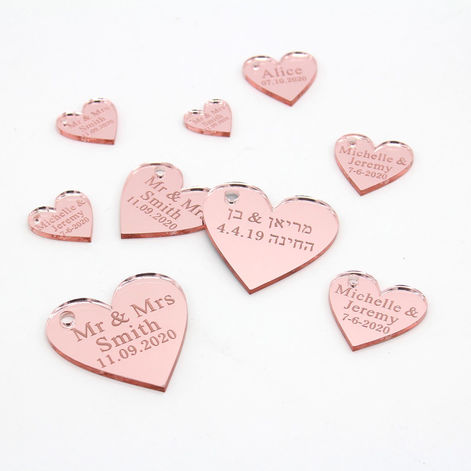 100 personnalisé Papillons Roses Amour Coeurs Bonbons Candy Faveurs Mariage Fête