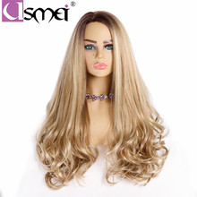 USMEI Wavy wigs 28long Golden wig for women Synthetic hair wigs high density Heat Resistant fiber ombre Female wig cosplay wig цена