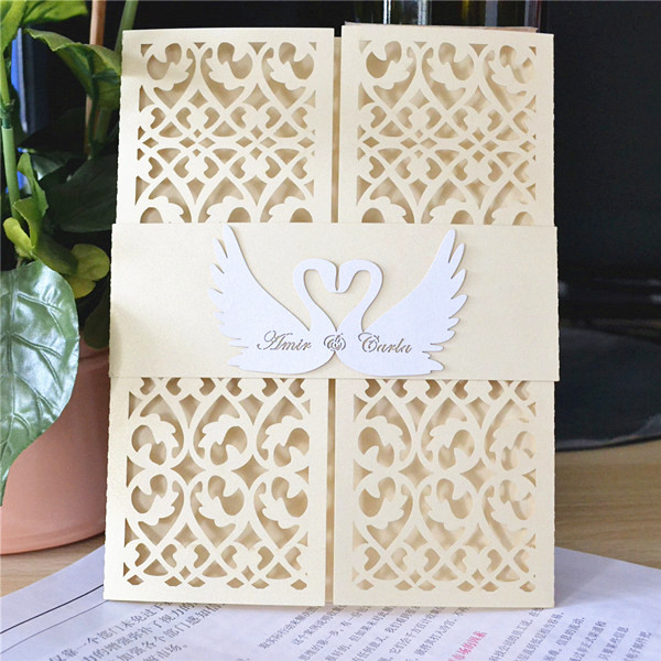 Famoso Cigno bianco inviti di nozze carta disegni taglio laser in Cigno  DO42