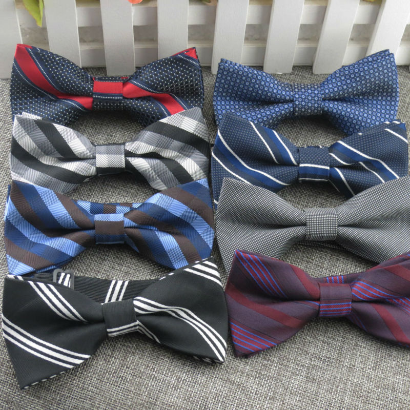 Mens classic stripe style BOW tie fashion party wedding the grooms AND best man BOWTIE bowknot