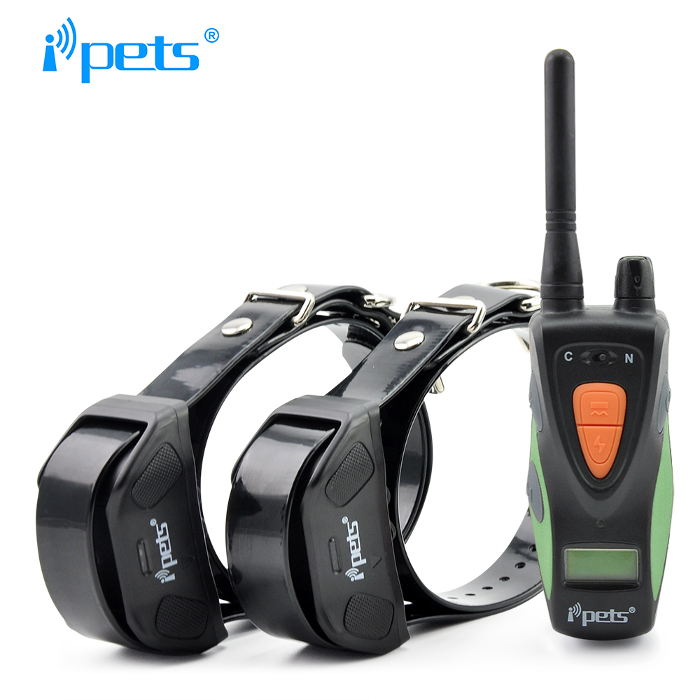Ipets 617 2 800M 100LV Electric Shock Rechargeable Waterproof Dog Training Collar products with LCD Display